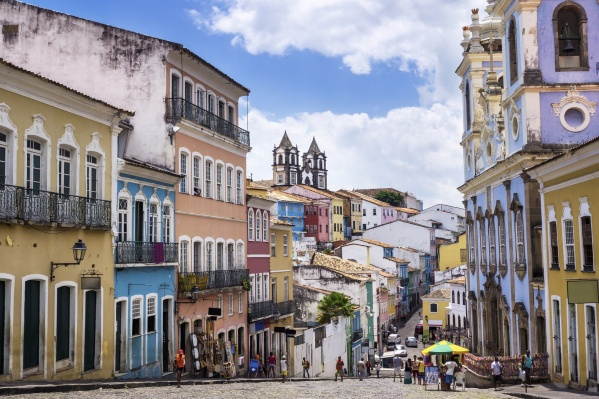 Colorful colonial houses in Pelourinho, Salvador, Bahia, Brazil.