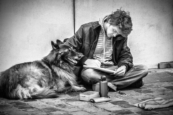 Wanderer With His Dog